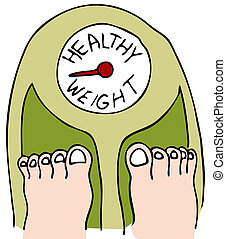 Healthy Weight - An image of a person standing on a scale.