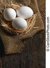 Healthy white farm fresh eggs