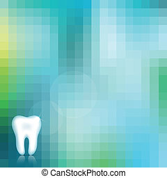 Healthy white tooth and beautiful blue background.