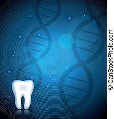 Healthy white tooth and DNA background