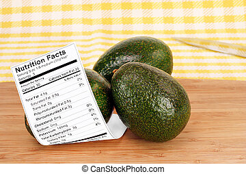 Healthy whole Avocados with Nutrition Label - Two stacked...