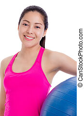 Healthy woman - girl smiling and holding fitness ball isolated on white