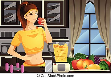 Healthy woman making fruit juice