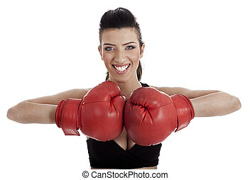 Healthy woman practicising boxing
