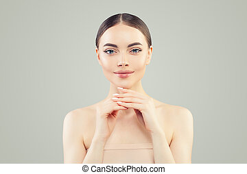 Healthy woman with clear skin portrait. Natural beauty