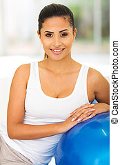 healthy woman with exercise ball