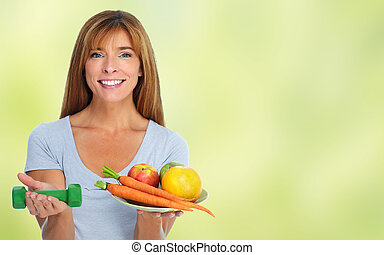 Healthy woman with vegetables and fruits. - Woman with...