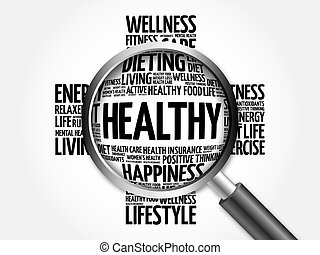 HEALTHY word cloud with magnifying glass