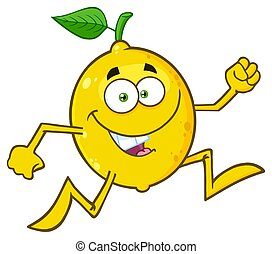 Healthy Yellow Lemon Fresh Fruit With Green Leaf Cartoon Mascot Character Running. Illustration Isolated On White Background