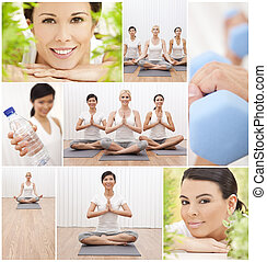 Healthy Yoga Lifestyle Montage Women at Spa