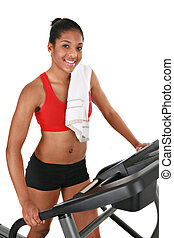 Healthy Young African American Female Standing on Treadmill