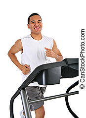 Healthy Young African American Running in Treadmill Isolated...