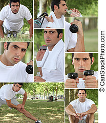 Healthy young man working out outdoors