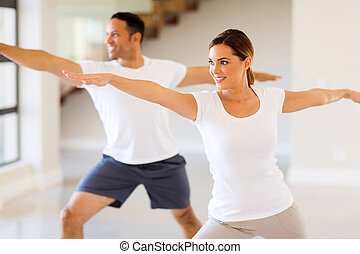 young woman and man workout