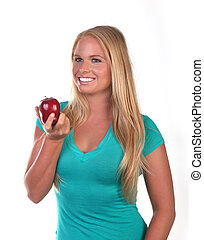 Healthy Young Woman Eating Nutritious Food