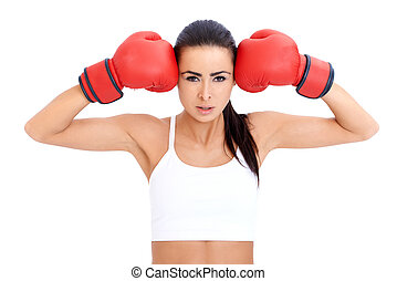 Healthy Young Woman in Red Gloves