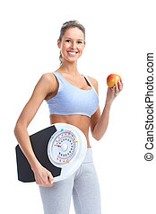 woman with a weight scale