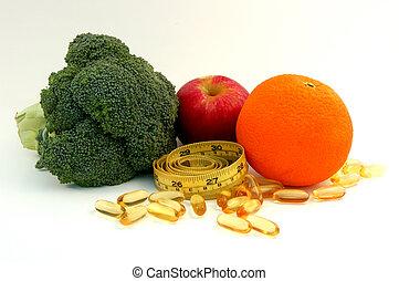 Apple, orange, broccoli, fish oil caplets and measure tape
