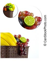 Healty Organic Mix of Fruits Collage