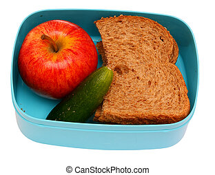 Healty school lunch, isolated on background