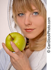 healty woman with apple