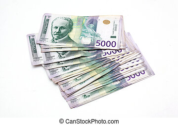 Serbian Currency - A Heap of 5000 Dinar Banknotes