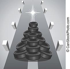 Heap car tires like a Christmas tree
