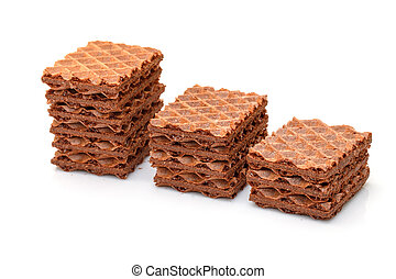 Heap Chocolate Wafers on white background