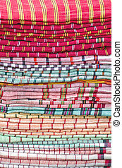 Heap cloth fabrics at  market in India