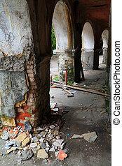 heap dirt near old pillar