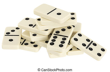 Heap from dominoes on white background