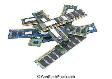 heap memory board - pile of old computer memory cards...