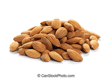 Heap of almonds isolated on a white background