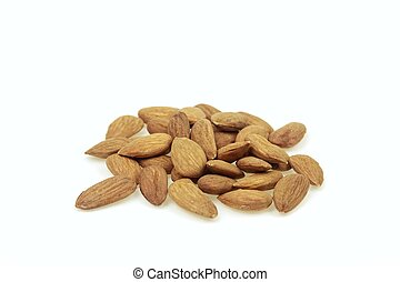 Heap of almonds, on white background.