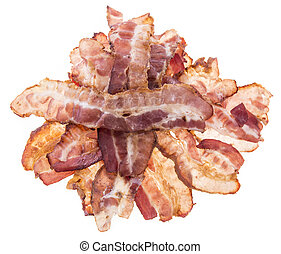 Heap of Bacon on white