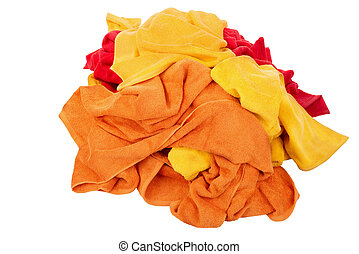 Heap of bath towels, isolated on white background.