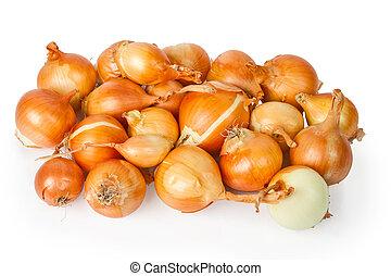 Heap of beautiful onions isolated on the white background