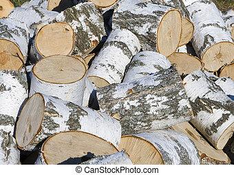 Heap of birch firewood