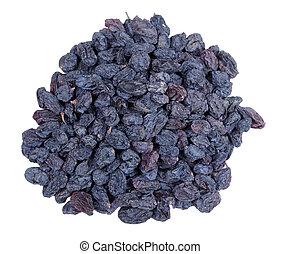 heap of black raisins isolated on white