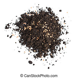 Heap of black soil and Chemical fertilizer on white background