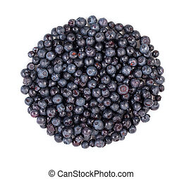 Heap of blueberries isolated on white background. Top view.