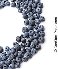 heap of blueberries on white background