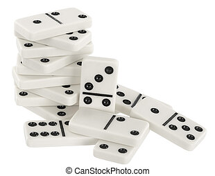 Heap of bones of dominoes on a white
