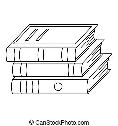 Heap of book icon, outline style.