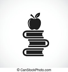 Heap of books and apple vector sign on white background