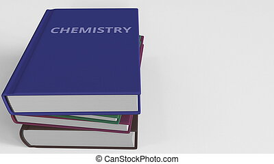 Heap of books on CHEMISTRY, 3D rendering