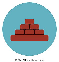Heap Of Brick Blocks Icon Web Button On Round Blue Background