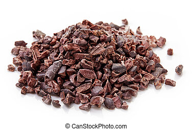Heap of cacao nibs on white background - Heap of cacao nibs,...