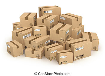 Heap of cardboard boxes isolated on white background *** All...