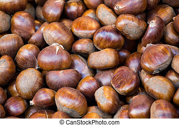 Heap of chestnut for autumn food background
